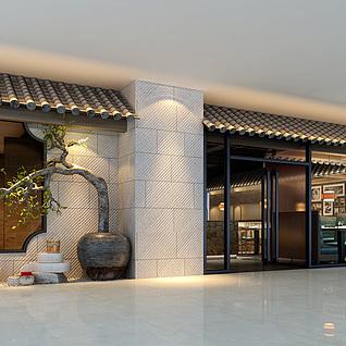 餐饮店门头整体模型