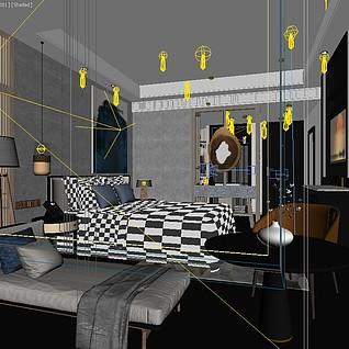 酒店客房模型整体模型