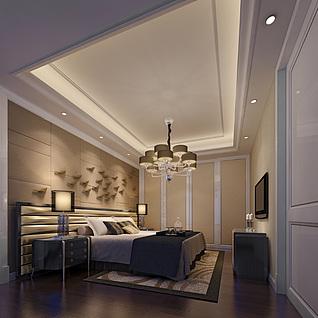 客厅、卧室及卫生间3d模型
