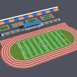 運動場球場主席臺看臺整體模型