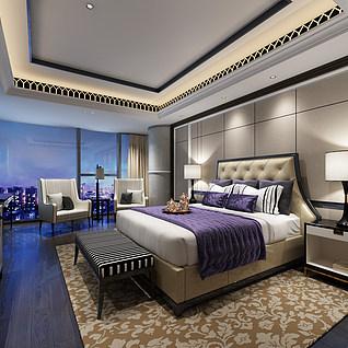 简欧卧室床头柜台灯3d模型