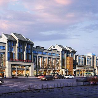 新中式商业街整体模型