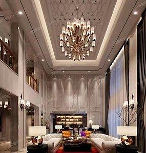 現代中式風格客廳臥室全景效果制作