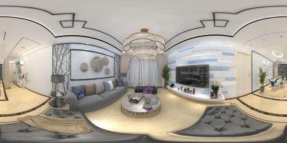 現代家裝客廳VR效果圖