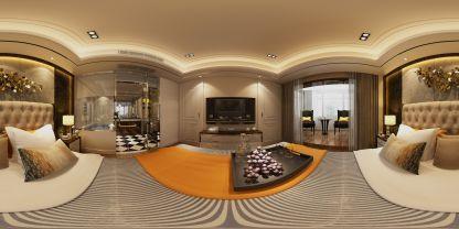 現代臥室家裝VR效果圖