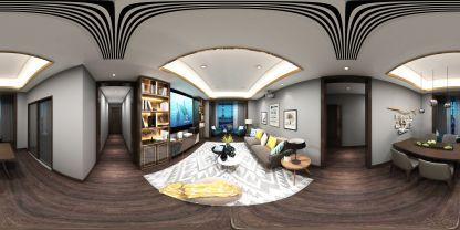 現代家裝客廳VR全景效果圖