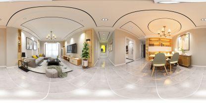 現代極簡家裝客廳VR效果圖
